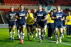 Bristol Rugby Inside Centre Ben Mosses (capt) leads in his side from the warmup - Mandatory byline: Rogan Thomson/JMP - 06/11/2015 - RUGBY UNION - Ashton Gate Stadium - Bristol, England - Bristol Rugby v Doncaster Knights - Greene King IPA Championship.