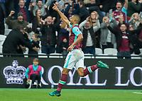 Football - 2016 / 2017 Premier League - West Ham United vs. Sunderland<br /> <br /> Winston Reid of West Ham runs off in celebration after striking a late goal at The London Stadium.<br /> <br /> COLORSPORT/DANIEL BEARHAM