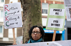 © Licensed to London News Pictures. 27/01/2020. London, UK. Protesters gather for the start of phase two of the Grenfell Inquiry. The second part of the inquiry into the fire that claimed the lives of 72 residents will consider important wider issues around the refurbishment and management of the Tower. Photo credit: Peter Macdiarmid/LNP