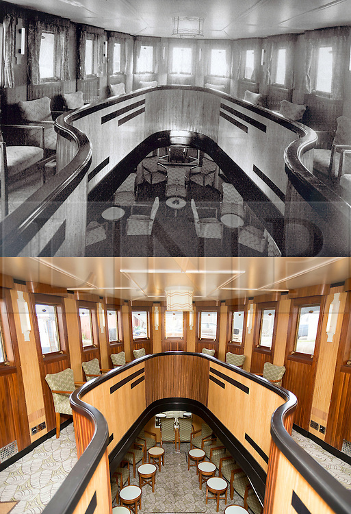 """© Licensed to London News Pictures. 30/09/2016. Birkenhead UK. Top collect picture shows the upper saloon of the Daniel Adamson in 1936, bottom picture shows the upper saloon today. The Daniel Adamson steam boat has been bought back to operational service after a £5M restoration. The coal fired steam tug is the last surviving steam powered tug built on the Mersey and is believed to be the oldest operational Mersey built ship in the world. The """"Danny"""" (originally named the Ralph Brocklebank) was built at Camel Laird ship yard in Birkenhead & launched in 1903. She worked the canal's & carried passengers across the Mersey & during WW1 had a stint working for the Royal Navy in Liverpool. The """"Danny"""" was refitted in the 30's in an art deco style. Withdrawn from service in 1984 by 2014 she was due for scrapping until Mersey tug skipper Dan Cross bought her for £1 and the campaign to save her was underway. Photo credit: Andrew McCaren/LNP"""