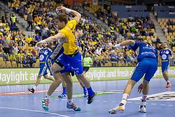 Luka Mitrovic of RK Celje Pivovarna Lasko during handball match between RK Celje Pivovarna Lasko and PGE Vive Kielce in Group Phase A+B of VELUX EHF Champions League, on September 30, 2017 in Arena Zlatorog, Celje, Slovenia. Photo by Urban Urbanc / Sportida