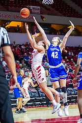 NORMAL, IL - January 03: Alyssa Robben makes her self big but can't stop the shot by Lexi Wallen during a college women's basketball game between the ISU Redbirds and the Sycamores of Indiana State January 03 2020 at Redbird Arena in Normal, IL. (Photo by Alan Look)