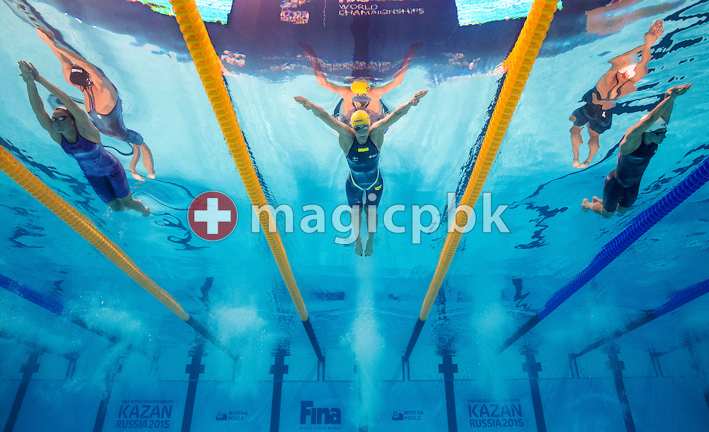 (L-R) Inge Dekker of Netherlands, world record setter Sarah Sjostrom of Sweden and Katerine Savard of Canada compete in the women's 100m Butterfly Semifinal during the 16th FINA World Swimming Championships held at the Kazan arena in Kazan, Russia, Sunday, Aug. 2, 2015. (Photo by Patrick B. Kraemer / MAGICPBK)
