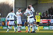 Millwall's Jake Cooper and Millwall's Jed Wallace celebrate the win during the EFL Sky Bet Championship match between Burton Albion and Millwall at the Pirelli Stadium, Burton upon Trent, England on 24 February 2018. Picture by John Potts.