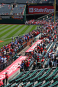 ANAHEIM, CA - APRIL 26:  Thousands of young baseball players walk around the field during Little League Days prior to the Los Angeles Angels of Anaheim game against the Seattle Mariners at Angel Stadium on Sunday, April 26, 2009 in Anaheim, California.  The Angels shut out the Mariners 8-0.  (Photo by Paul Spinelli/MLB Photos via Getty Images)
