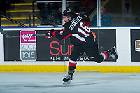 KELOWNA, CANADA - MARCH 14: Ryan Schoettler #16 of the Prince George Cougars takes a shot on net against the Kelowna Rockets  on March 14, 2018 at Prospera Place in Kelowna, British Columbia, Canada.  (Photo by Marissa Baecker/Shoot the Breeze)  *** Local Caption ***