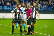 Notts County defender Richard Duffy (5) is booked and receives a caution and a yellow card for disputing the penalty decision during the EFL Sky Bet League 2 match between Coventry City and Notts County at the Ricoh Arena, Coventry, England on 12 May 2018. Picture by Simon Davies.