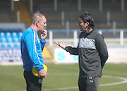 Morton boss Kenny Shiels and Dundee manager Paul Hartley - Greenock Morton v Dundee, SPFL Championship at Cappielow<br /> <br />  - &copy; David Young - www.davidyoungphoto.co.uk - email: davidyoungphoto@gmail.com
