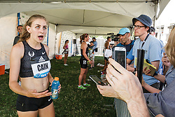 adidas Grand Prix Diamond League Track & Field: womens 1000m, Mary Cain with reporters in mix zone