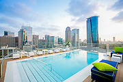 Rooftop swimming pool with a skyline view of Tel Aviv and Ramat Gan