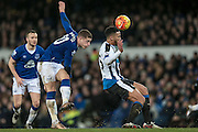 Ross Barkley (Everton) takes a shot during the Barclays Premier League match between Everton and Newcastle United at Goodison Park, Liverpool, England on 3 February 2016. Photo by Mark P Doherty.