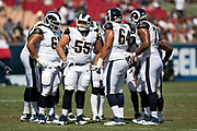 The Los Angeles Rams offense huddles and calls a play during the 2018 NFL preseason week 3 football game against the Houston Texans on Saturday, Aug. 25, 2018 in Los Angeles. The Rams won the game 21-20. (©Paul Anthony Spinelli)