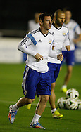 Lionel Messi (captain) of Argentina (L) with Javier Mascherano of Argentina (R) during the Argentina training session at the Est&aacute;dio S&atilde;o Janu&aacute;rio, Rio de Janeiro, ahead of tomorrow's World Cup Final.<br /> Picture by Andrew Tobin/Focus Images Ltd +44 7710 761829<br /> 12/07/2014