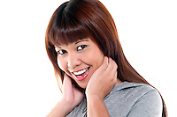 Portrait of young oriental woman smiling and laughing very happy.