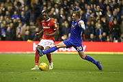 Ipswich Town forward Freddie Sears challenges for the ball with Nottingham Forest defender Michael Dawson during the EFL Sky Bet Championship match between Nottingham Forest and Ipswich Town at the City Ground, Nottingham, England on 1 December 2018.