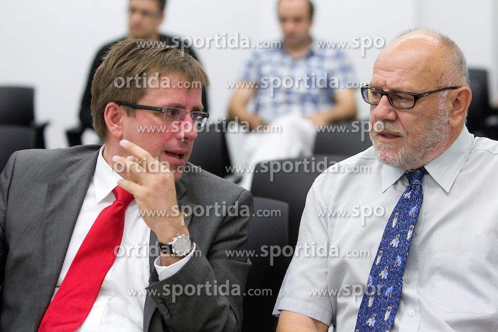 President Jani Moderndorfer and director Janez Rajgelj at the General Assembly of basketball club KK Union Olimpija Ljubljana, on June 24, 2011, in Arena Stozice, Ljubljana, Slovenia. (Photo by Vid Ponikvar / Sportida)