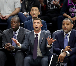 January 11, 2019 - Minneapolis, MN, USA - Minnesota Timberwolves interim head coach Ryan Saunders during the first half against the Dallas Mavericks on Friday, Jan. 11, 2019, at the Target Center in Minneapolis. The Mavs won, 119-115. (Credit Image: © David Joles/Minneapolis Star Tribune/TNS via ZUMA Wire)