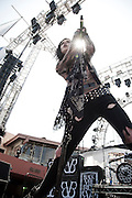 """Black Veil Brides performing at the Sunset Strip Music Festival in Los Angeles, California, August 20, 2011. Black Veil Brides is an American rock band based out of Hollywood, California. The group is composed of Andrew """"Andy Six"""" Biersack (lead vocals), Ashley Purdy (bass, backing vocals), Jake Pitts (lead guitar), Jinxx (guitar, violin), and Christian """"CC"""" Coma (drums)."""