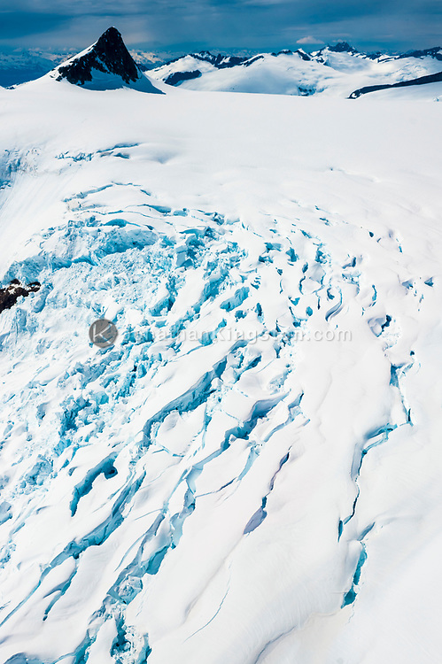 Aerial view of seracs and crevasses on the Juneau Icefield, Alaska.