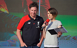 LIVERPOOL, ENGLAND - Monday, May 9, 2016: Liverpool's Robbie Fowler is interviewed by Claire Rourke at the launch of the New Balance 2016/17 Liverpool FC kit at a live event in front of supporters at the Royal Liver Building on Liverpool's historic World Heritage waterfront. (Pic by Lexie Lin/Propaganda)