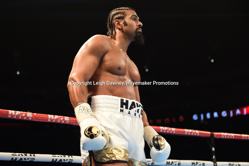 David Haye during his fight against Arnold Gjergjaj in a heavyweight contest at the 02 Arena, London on the 21st May 2016. Photo credit: Leigh Dawney/Hayemaker Promotions