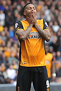 Hull City striker Abel Hernandez (9)  after missing a shot a goal during the Sky Bet Championship match between Hull City and Leeds United at the KC Stadium, Kingston upon Hull, England on 23 April 2016. Photo by Ian Lyall.