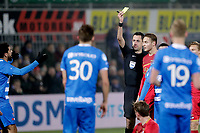 *Youness Mokhtar* of PEC Zwolle receives a yellow card from Referee *Dennis Higler*