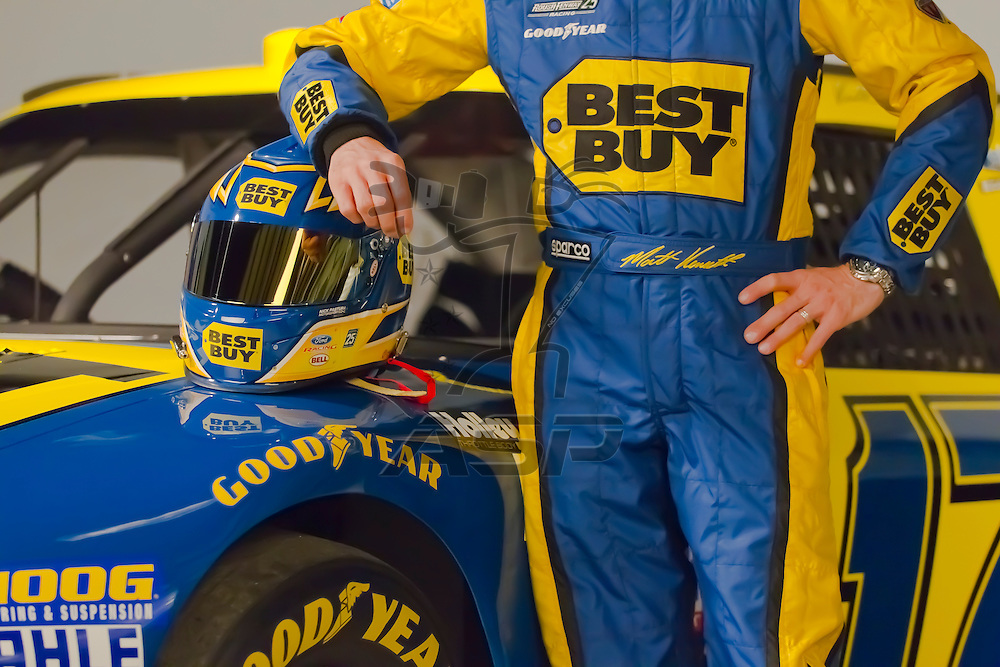 Mooresville, NC - February 08, 2012:  Carl Edwards (99) and Matt Kennseth (17) pose for their pre-season photoshoots for their new sponsor, Best Buy in Mooresville, NC.