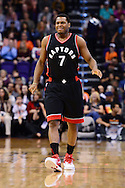 Dec 29, 2016; Phoenix, AZ, USA;  Toronto Raptors guard Kyle Lowry (7) reacts while walking up the court in the first half of the NBA game against the Phoenix Suns at Talking Stick Resort Arena. The Suns won 99-91. Mandatory Credit: Jennifer Stewart-USA TODAY Sports