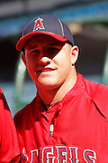 ANAHEIM, CA - JULY 28:  Mike Trout #27 of the Los Angeles Angels of Anaheim looks on during batting practice before the game against the Tampa Bay Rays on Saturday, July 28, 2012 at Angel Stadium in Anaheim, California. The Rays won the game in a 3-0 shutout. (Photo by Paul Spinelli/MLB Photos via Getty Images) *** Local Caption *** Mike Trout