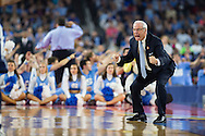 04 APR 2016: Head Coach Roy Williams of the University of North Carolina yells to his team against Villanova University during the 2016 NCAA Men's Division I Basketball Final Four Championship game held at NRG Stadium in Houston, TX.Villanova defeated North Carolina 77-74 to win the national title. Brett Wilhelm/NCAA Photos