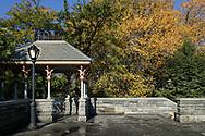 A rustic shelter at Belvedere Castle in Central Park.