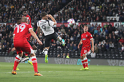 Chris Martin of Derby County (C) heads at goal - Mandatory by-line: Jack Phillips/JMP - 09/08/2016 - FOOTBALL - iPro Stadium - Derby, England - Derby County v Grimsby Town - EFL Cup First Round