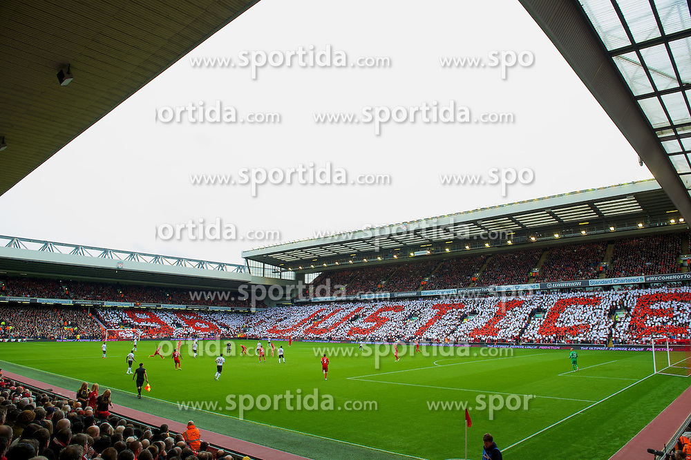 23.09.2012, Anfield, Liverpool, ENG, Premier League, FC Liverpool vs Manchester United, 5. Runde, im Bild Liverpool supporters form a mosaic on the Anfield Road and Centenary Stands calling for Justice for the 96 victims of the Hillsborough Stadium Disaster before the English Premier League 5th round match between Liverpool FC and Manchester United at Anfield, Liverpool, Great Britain on 2012/09/23. EXPA Pictures © 2012, PhotoCredit: EXPA/ Propagandaphoto/ David Rawcliff..***** ATTENTION - OUT OF ENG, GBR, UK *****