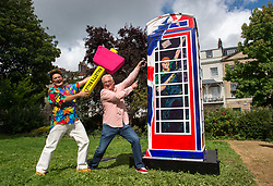 © Licensed to London News Pictures.  18/08/2017; Bristol, UK. TIMMY MALLETT poses with the painted Ring a Royal Phonebox which has been relocated to The Mall Gardens in Clifton Village, Bristol. Timmy painted the phone box in 2012 in aid of 25th Childline Anniversary and it has been on public display since 2012 at London's Royal Albert Hall, the O2 Arena and for the last 4 years outside Windsor Castle. The colourful phone box features Her Majesty the Queen, Prince Harry striking the classic Usain Bolt lightning pose, The Duchess of Cambridge on her mobile with a pram & The Royal Standard is draped over the top and the fourth side features a Union Jack. The Ring a Royal Phonebox will stay in its new home for the next couple of months. Picture credit : Simon Chapman/LNP