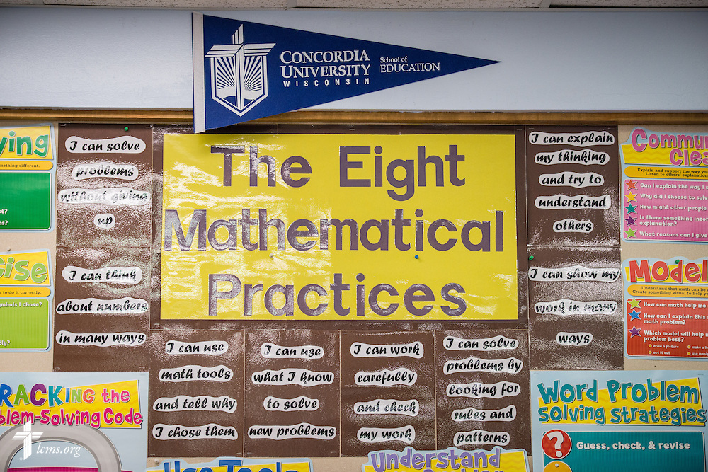 A Concordia University Wisconsin pennant hangs in the classroom on Thursday, Oct. 27, 2016, at First Immanuel Lutheran School in Cedarburg, Wis. LCMS Communications/Erik M. Lunsford