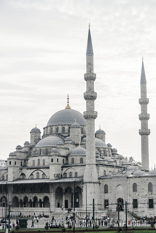 Yeni Camii (New Mosque) is in on the Eminonu side of the Galata Bridge near the Grand Bazaar. Istanbul, Turkey