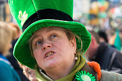 London, March 13th 2016. The annual St Patrick's Day Parade takes place in the Capital with various groups from the Irish community as well as contingents from other ethnicities taking part in a procession from Green Park to Trafalgar Square. &copy;Paul Davey<br /> FOR LICENCING CONTACT: Paul Davey +44 (0) 7966 016 296 paul@pauldaveycreative.co.uk