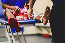 Marcus Delpeche of Bristol Flyers is taped up prior to kick off- Photo mandatory by-line: Ryan Hiscott/JMP - 03/11/2018 - BASKETBALL - SGS Wise Arena - Bristol, England - Bristol Flyers v Newcastle Eagles - British Basketball League Championship
