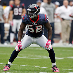 October 10, 2010; Houston, TX USA; Houston Texans linebacker Darryl Sharpton (51) lines up on kickoff coverage during the first half of a game against the New York Giants at Reliant Stadium. Mandatory Credit: Derick E. Hingle