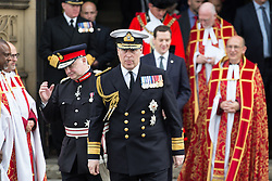 © Licensed to London News Pictures . 01/07/2016 . Manchester , UK .  PRINCE ANDREW leaves Manchester Cathedral after a remembrance service . Somme100 events in Manchester City Centre to commemorate the 100th anniversary of the first day of the Battle of the Somme . Photo credit : Joel Goodman/LNP