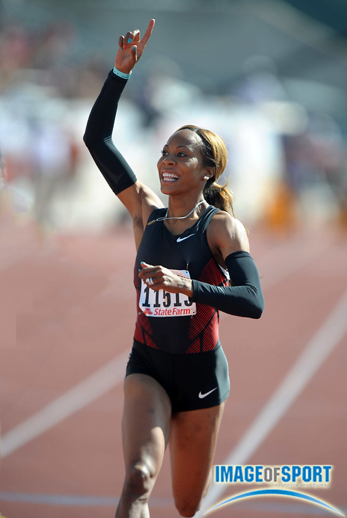 Mar 31, 2012; Austin, TX, USA; Sanya Richards reacts after winning the womens 100m in a wind-aided 10.89 in the 85th Clyde Littlefield Texas Relays at Mike A. Myers Stadium.
