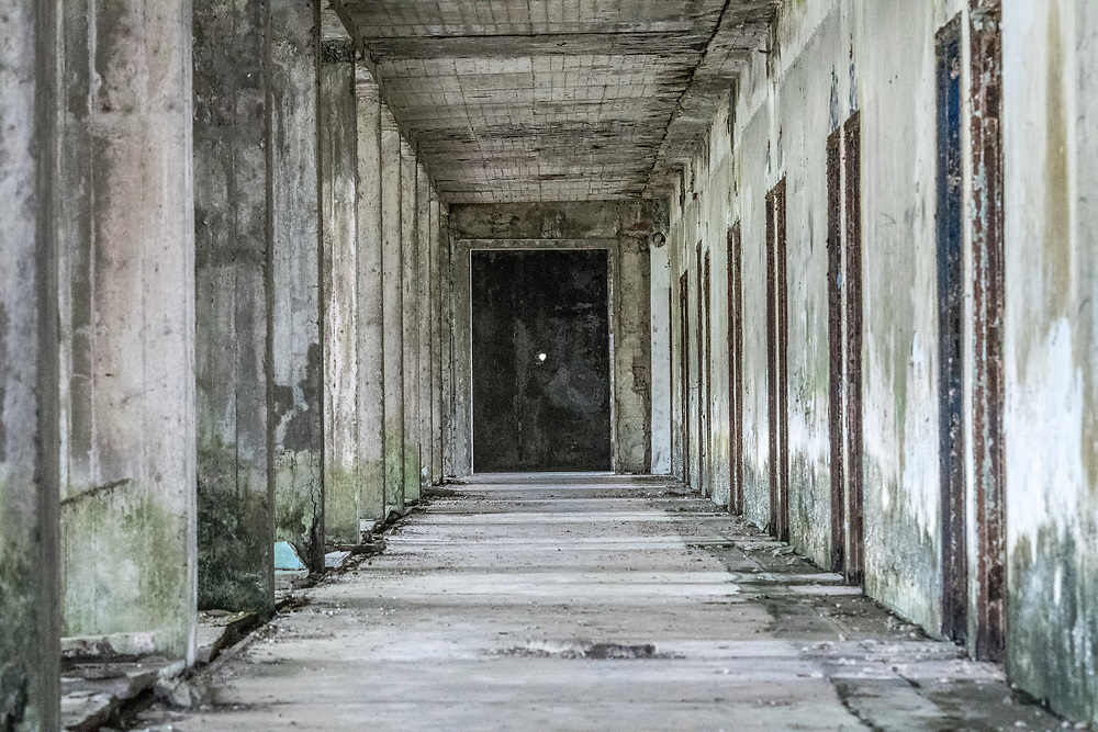 An interior look at the abandoned Ducor Hotel, once the most prominent hotels in Monrovia, Liberia