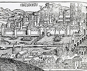 View of Ratisbon, Germany. From 'Liber chronicarum mundi' 1493.