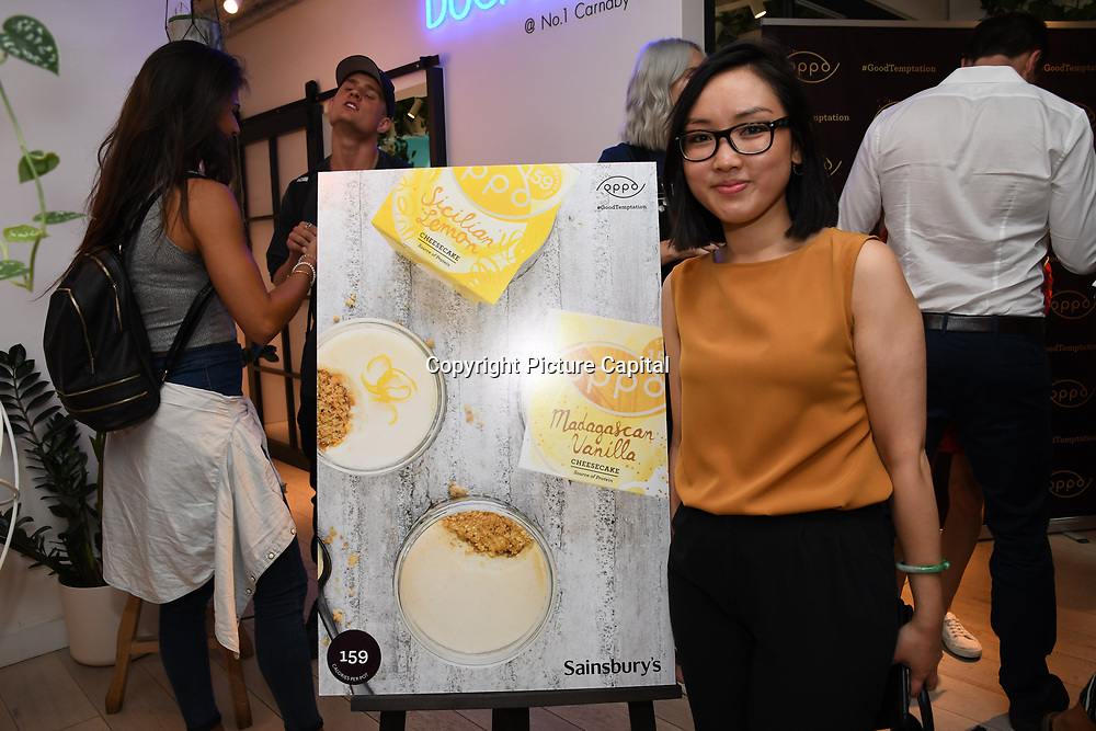 Vivien Quan ,@vivxqn cn attend the Oppo party to launch its new Madagascan Vanilla, Sicilian Lemon and Raspberry Cheesecakes, served with Skinny Prosecco at Farm Girls Café, 1 Carnaby Street, Soho, London, UK on July 18 2018.