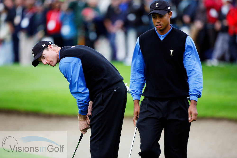 Tiger Woods and Jim Furyk on the second morning at the 36th Ryder Cup Matches 2006, K Club, Ireland, 060922<br /> Picture Credit: Mark Newcombe / visionsingolf.com