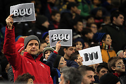 January 19, 2019 - Milan, Milan, Italy - The FC Internazionale fans show BUU (Brothers Universally United) signs from the campaign against racism prior to the serie A match between FC Internazionale and US Sassuolo at Stadio Giuseppe Meazza on January 19, 2019 in Milan, Italy. (Credit Image: © Giuseppe Cottini/NurPhoto via ZUMA Press)