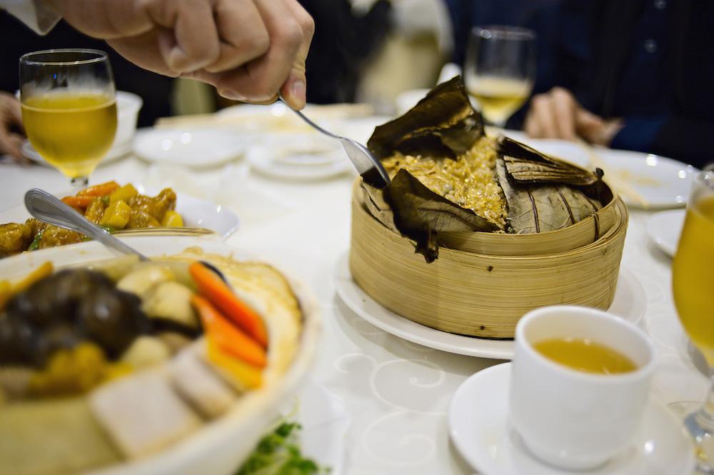 Traditional Chinese Lunar New Year meal at King Tak Lam, a  restaurant serving Shanghai vegetarian cuisine, Tsim Sha Tsui, Kowloon, Hong Kong