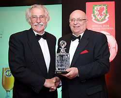 CARDIFF, WALES - Tuesday, October 7, 2008: Former Wales, Liverpool and Swansea striker Des Palmer recieves his speial player award from FAW President Peter Rees at the Brains Beer Wales Football Awards at the Millennium Stadium. (Photo by David Rawcliffe/Propaganda)