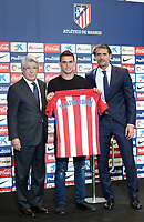Atletico de Madrid's new player Santos Borre (c) during his official presentation with the President Enrique Cerezo (l) and the General Manager Jose Luis Perez Caminero. July 14, 2016. (ALTERPHOTOS/Acero)